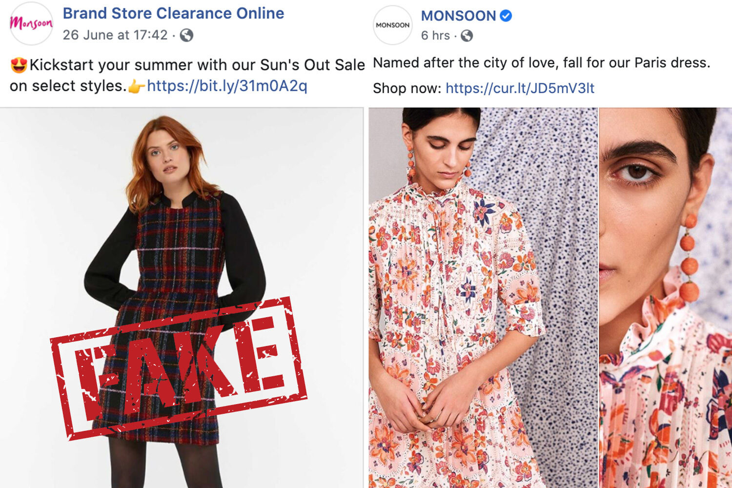 A shop, under the name of Brand Store Clearance Online (left) impersonated the Monsoon Facebook page (right)