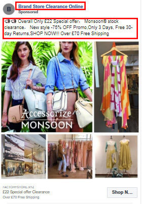 A targeted ad from the counterfeit goods website, Brand Store Clearance Online, is seen on Facebook