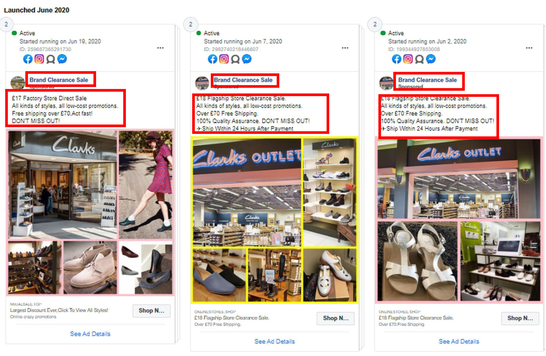 Shoe retailer Clarks was also impersonated by the fake shop Brand Store Clearance Online